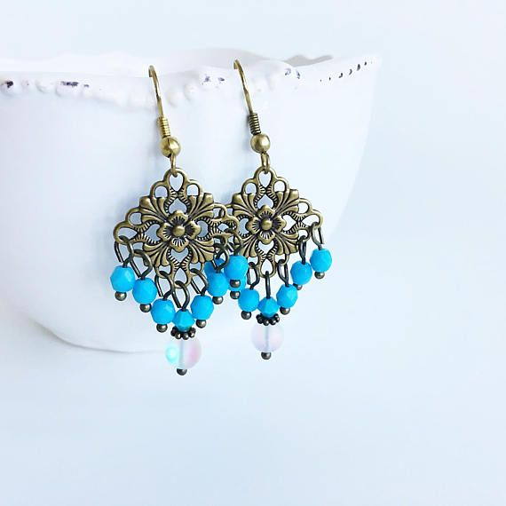 Gypsy Earrings Turquoise Blue Stone and White Glass Boho