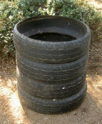 stack 5 tires (truck tires work best) and have two stacks and
