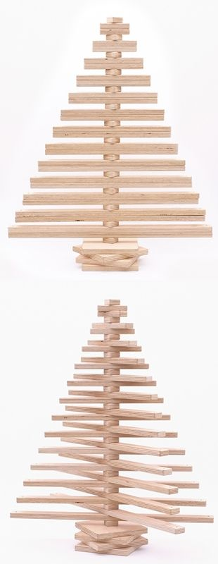 Christmas tree for anyone who doesn't like the idea of chopping down trees for short term decoration. One Two Tree is produced from sustainably grown Australian hoop pine plywood. It's also shipped flat-packed, ready to assemble in seconds. The user can move the adjustable branches to create their own design or give them a spin for a random look!