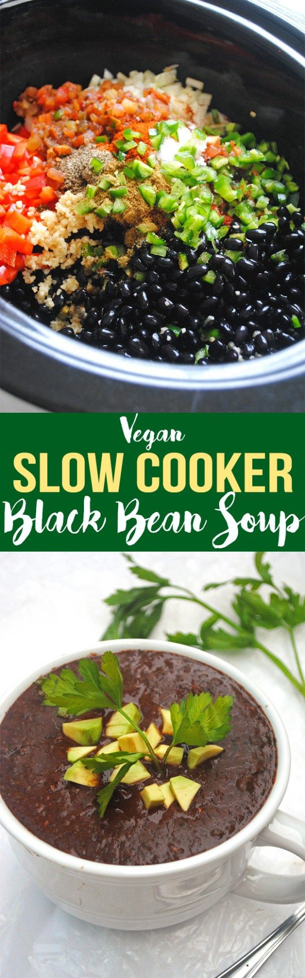 Requiring little prep, this Slow Cooker Black Bean Soup is perfect for an easy weeknight dinner! It's vegan, gluten-free, and full of plant-based protein.