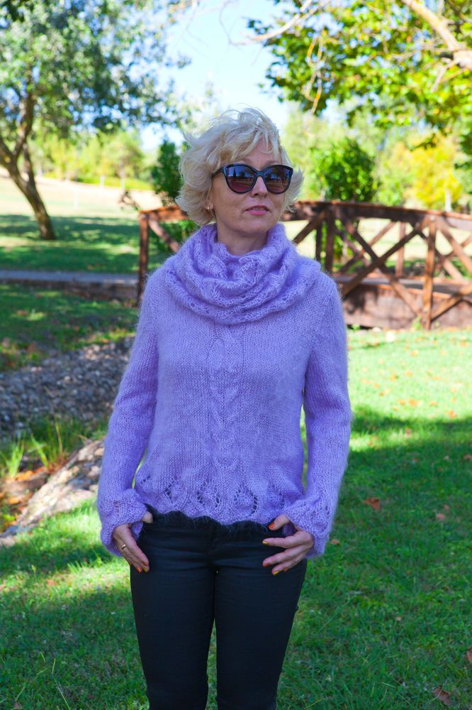 Sweater Mohair Hand Knitting and Circular Scarf #HandmadeMilevknitting #sweater