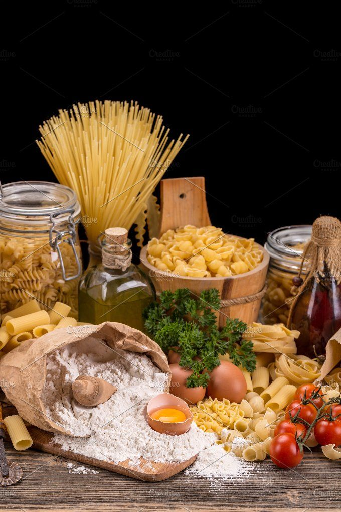 #Still life with raw pasta  Still life with raw pasta and ingredients for pasta