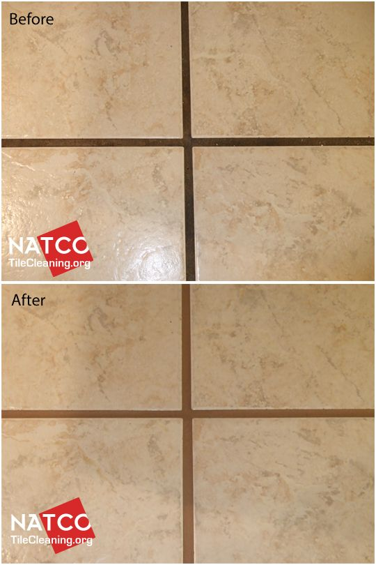 Before and after colorsealing grout using Custom Building products Light Smoke colored grout colorsealer