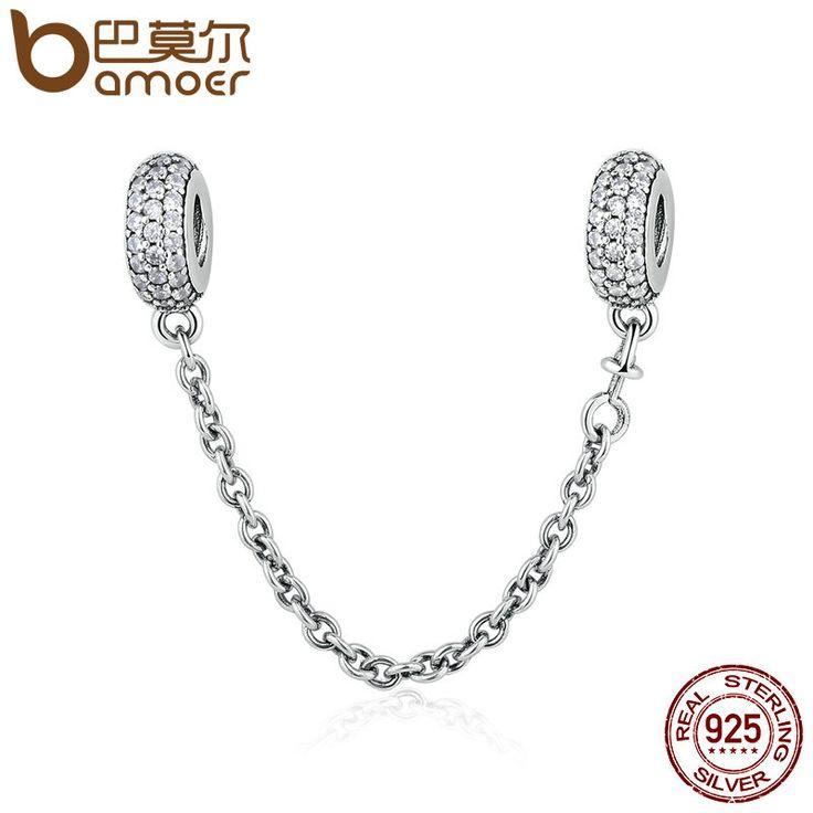 BAMOER 100% 925 Sterling Silver Pave Inspiration Safety Chain, Clear CZ Stopper Charms fit  Bracelet DIY Jewelry PSC011