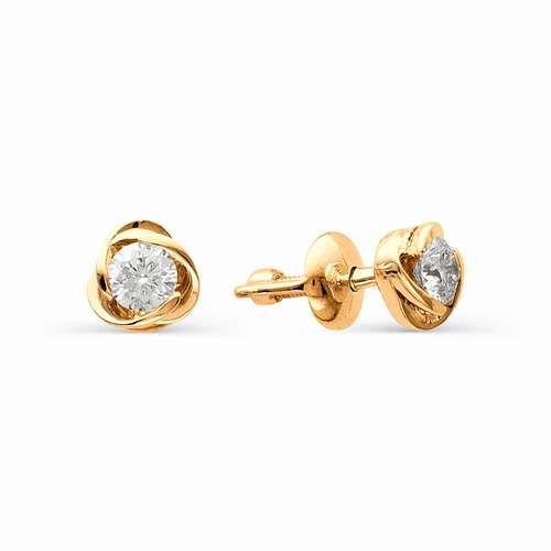 Золотые серьги-гвоздики (пусеты) с большими бриллиантами