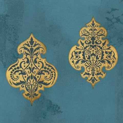 Wall Stencil   Turkish Emblem Stencil Impression Set   Royal Design Studio