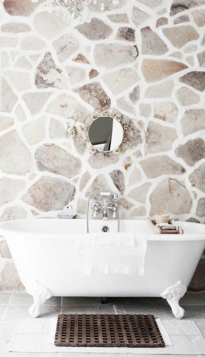 Le mur en pierre apparente en 16 photos!  Salle de bain pierre