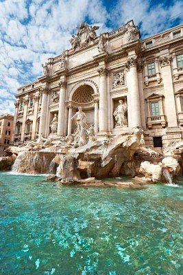 Trevi Fountain in Rome, Italy. Legend has it that throwing a coin into the fountain will guarantee that you'll return to the Eternal City. Throwing in a second coin will not only get you a return trip to Rome, but also an exciting new romance.