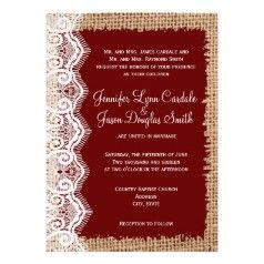 Burlap and Lace Print Maroon Wedding Invitations - Rustic Country Wedding Invitations