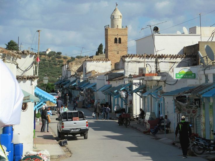 The tile roofs and minaretes of Testour, Tunisia, are signs of the Andalusian Muslims expelled from Spain who settled here in the 17th century.