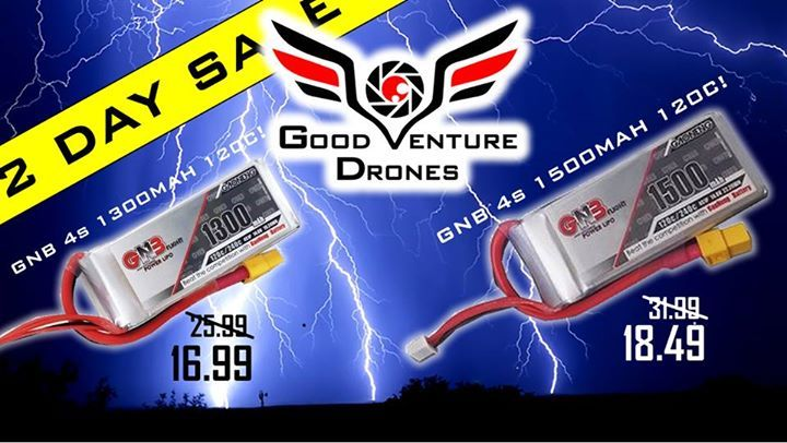 48 Hour Sale insane low price on our GNB 4S 1300 and 1500mah 120C Batteries!!! Sale Ends Friday Midnight.  Free Shipping on orders 150+  www.goodventuredrones.com #action #urban #win #sport #video #aerialphotography    #sports #camera #photography #photo #amazon #film   #gopro #dronephotography #drone #dronestagram #dji #drones
