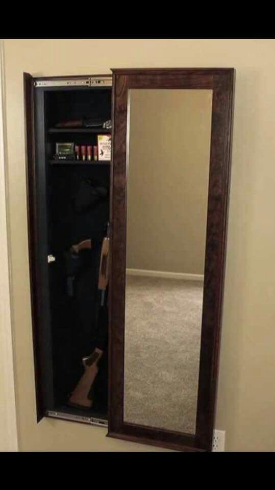 Custom built gun concealed cabinet behind mirror hidden - Bathroom mirror with hidden storage ...