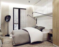 GOCŁAWSKA - Średnia sypialnia małżeńska z balkonem / tarasem, styl industrialny - zdjęcie od KAEEL.GROUP | ARCHITEKCI