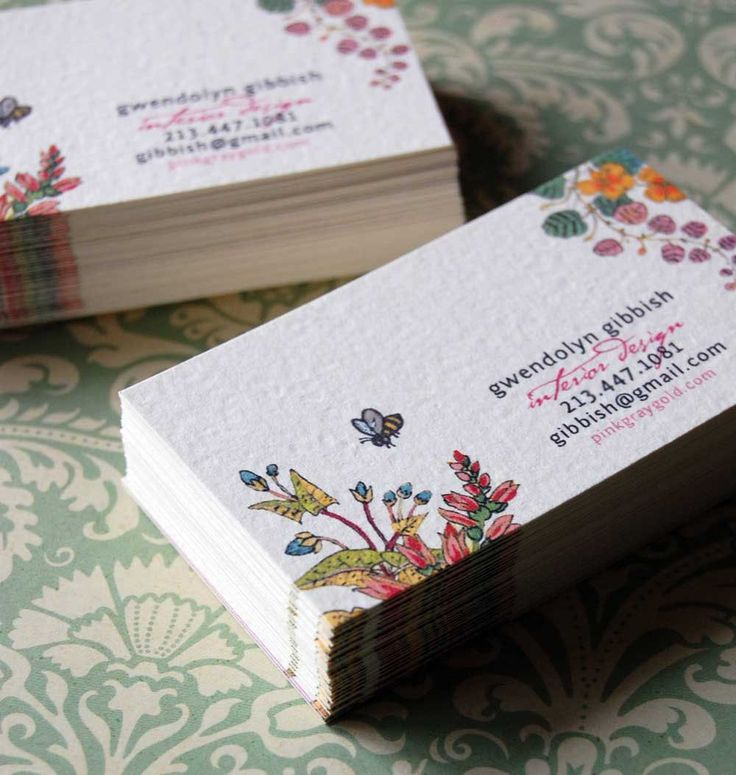 Pretty feminine floral business cards gwendolyn gibbish for Feminine business cards