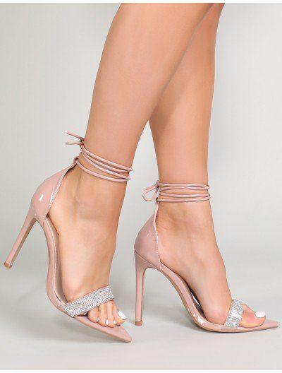 288bea6c1ca4 Caffeine Diamante Strap Heels in Nude Patent