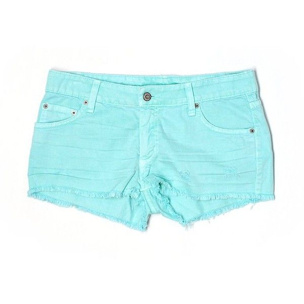 Car Mar Denim Shorts ($41) ❤ liked on Polyvore featuring shorts, light blue, denim shorts, jean shorts, short jean shorts, cotton shorts and light blue denim shorts