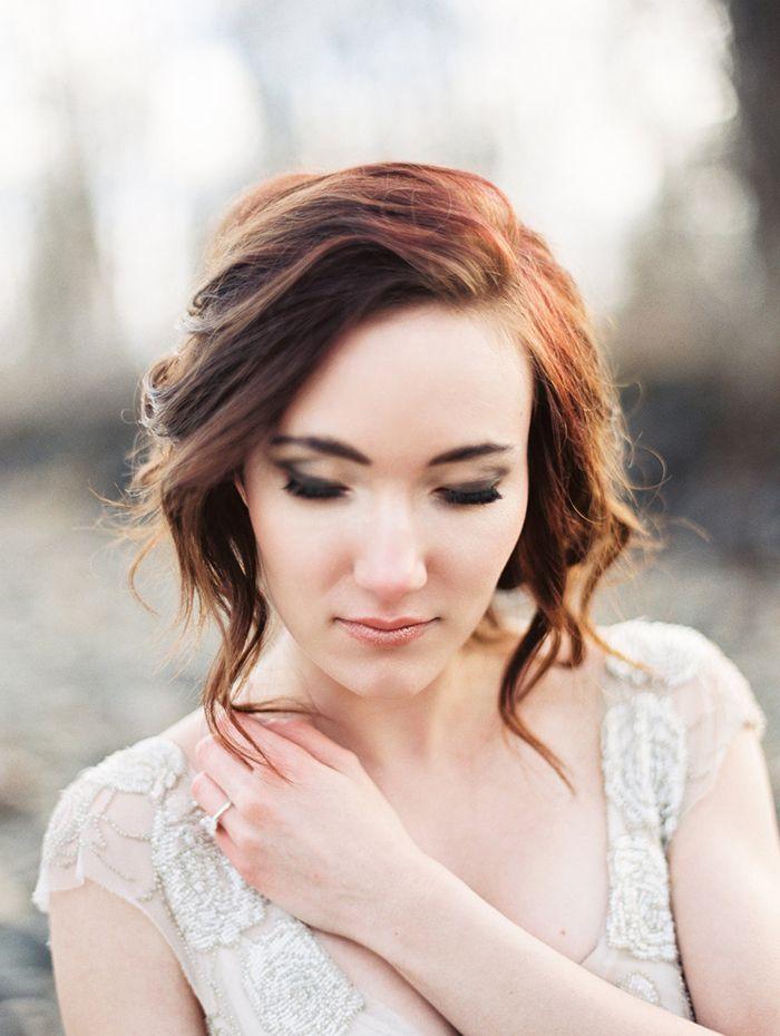 Romantic Rose Gold Bridal Makeup with a Loose Updo  https://heyweddinglady.com/celebrating-rugged-beauty-spring-montana/    #wedding #weddings #weddingideas #styledshoot #weddinginspiration #springwedding #montana #destinationwedding #rusticwedding #makeup #bridalmakeup #bride #bridal #weddingdress