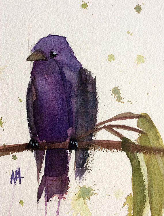 Martin púrpura Nº 12  8 x 10 pulgadas (20.32 x 25.4 cm) con 11 x 14 pulgadas (27.94 x 35.56 cm) blanco mat.  Pintura Acuarela sobre papel de acuarela Arches prensado en frío. Montado en Museo-grado blanco mat.  Viene con respaldo rígido en una manga claro.  Firmado por el artista.  Autor: Angela Moulton ©