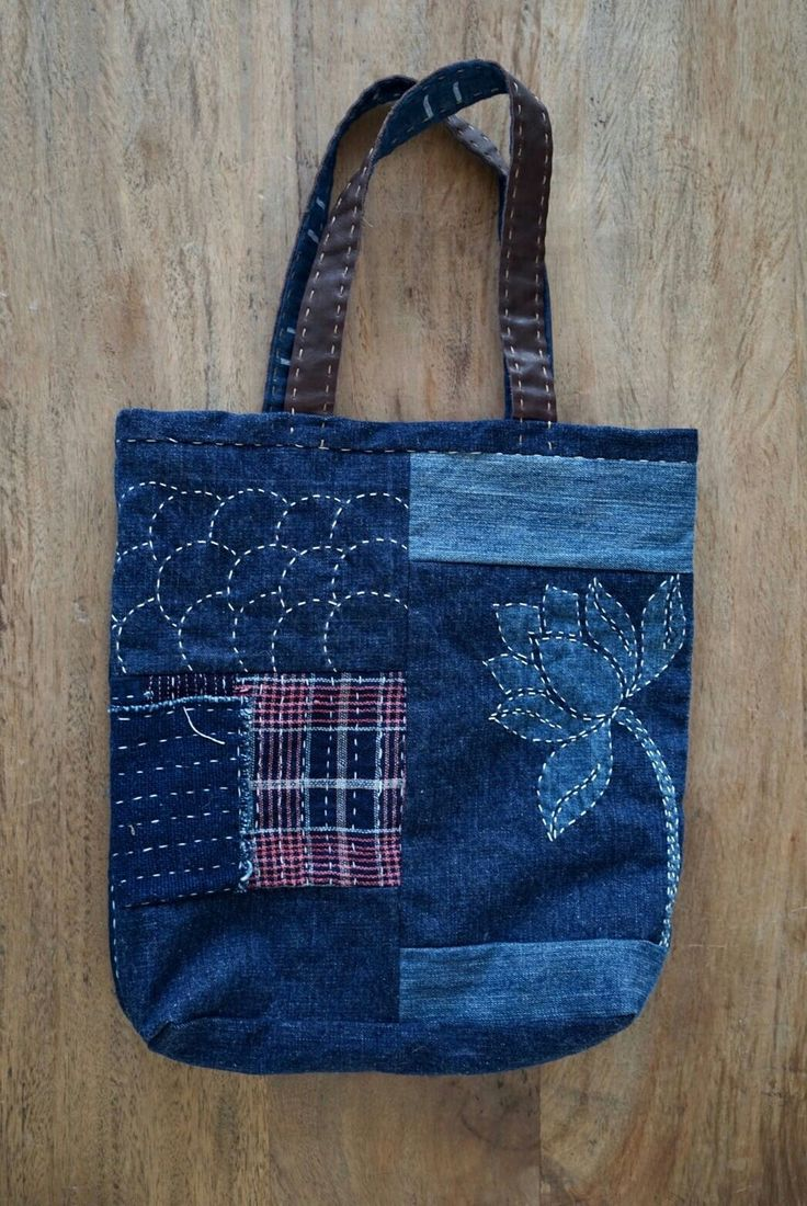 Sashiko Denim Tote Bag