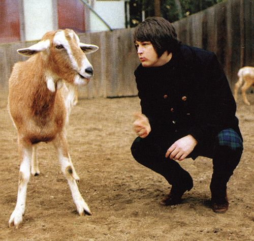 Pet Sounds -1966 Brian Wilson posing with a goat at the San Diego Zoo.