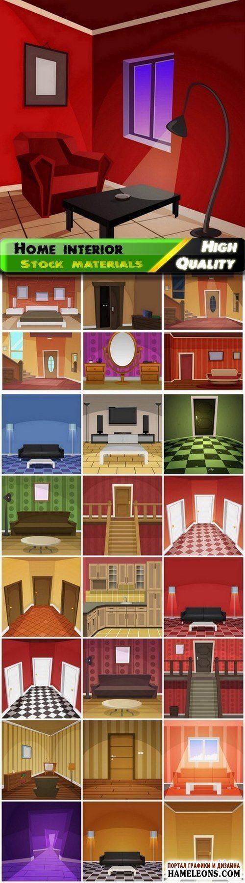 Внутренний интерьер дома: комнаты, двери, окна, мебель - векторный клипарт | Illustration of flat home interior with furniture
