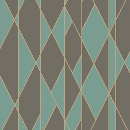 Oblique Wallpaper A glamorous yet restrained wallpaper which takes its name from the popular geometric style of the period for non parallel, angled lines. It is printed in teal and charcoal grey and criss-crossed with fine ribbons of gleaming metallic gold.