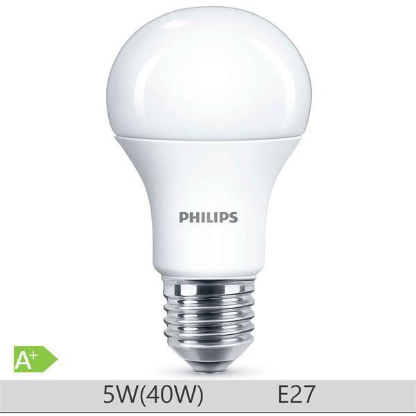 Bec LED Philips 5W E27 forma clasica A60, lumina neutra http://www.etbm.ro/tag/148/becuri-led-e27