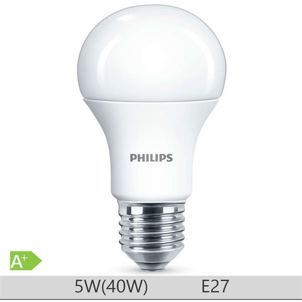Bec LED Philips 5W E27 forma clasica A60, lumina neutra http://www.etbm.ro/becuri-led