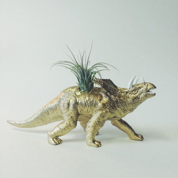 Accessory Air Decor Desk Dino Dinosaur Gift Gold Home Large Office Office Planters Party Plant Planter In 2020 Air Plants Planter Gift Animal Planters