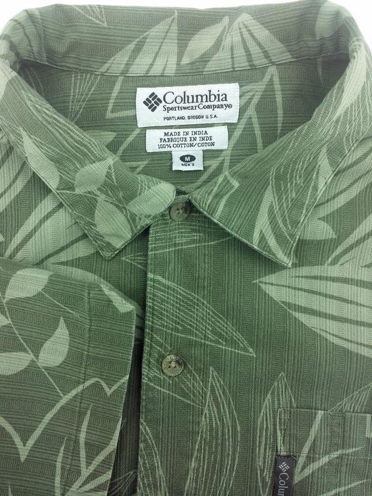 Columbia Medium M Olive Green Mens Short Sleeve Shirt #Columbia #Hawaiian