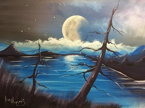 Acrylic Moon Over Lake Youtube Painting Painting