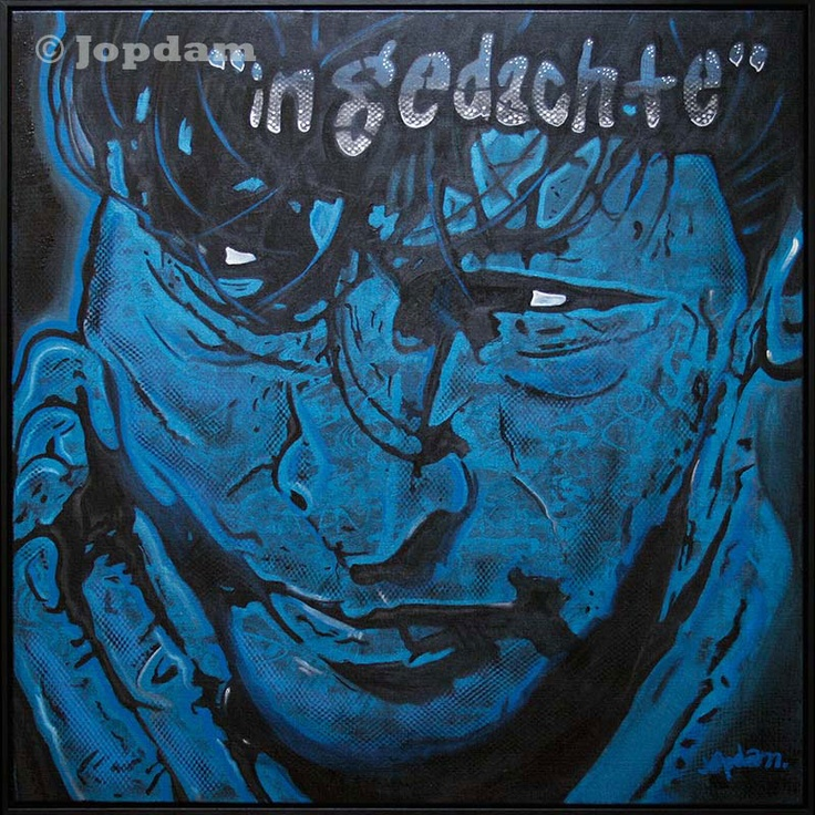 Title: In Gedachte (Thinking about) - 100 x 100 cm - Acrylic and spray paint on canvas - Herman Brood