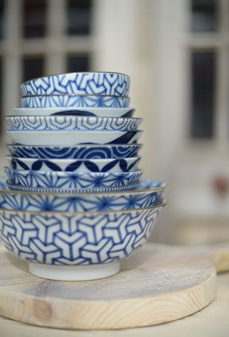 Tokyo Design. Love the blue on white. Perfect for ramen in the larger ones, or as a rice bowl for the smallest ones.
