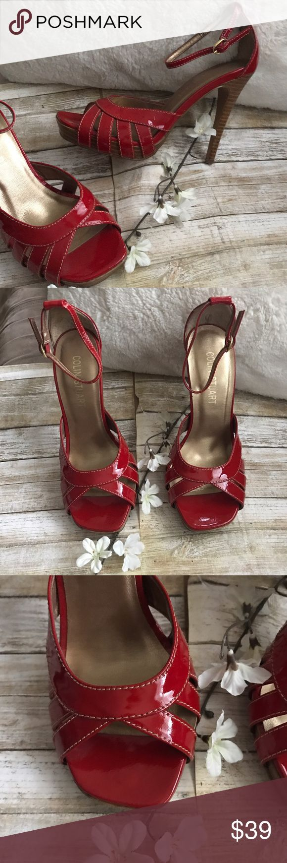 Colin Stuart red heel sandals shoes SZ 7M Colin Stuart ( Victoria secret ) patent red leather Heel sandals, in size 7M never used/ see pictures as part of the description/feel free to ask questions. Colin Stuart Shoes Heels