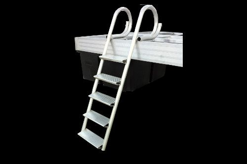 """4 and 5 Step Ladders: Our standard dock ladder has oversized rungs for sturdy footing to provide a safe, secure and comfortable access point for exiting or entering the water. And no other ladder available is as durable nor is as finished looking to complement any quality dock. Threads: Full 16.5"""" wide x 6.5"""" deep, slip resistant treads for maximum comfort and safety."""