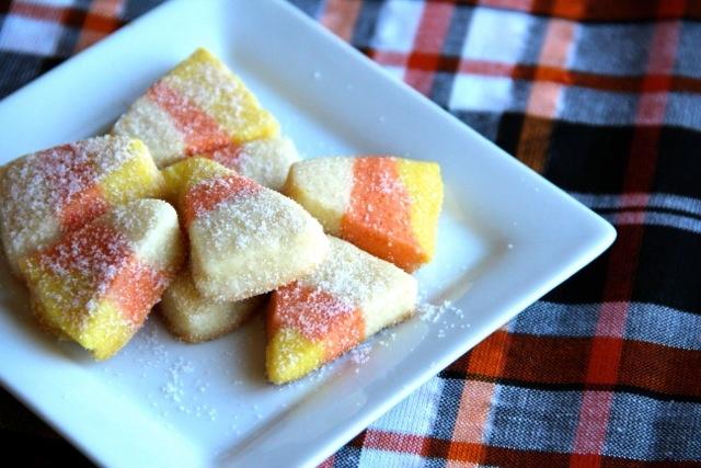 Mini Sugared Candy Corn Cookies via Alaska from Scratch