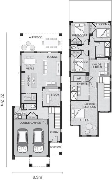 1000 images about duplex plans on pinterest 3 car for Up and down duplex plans