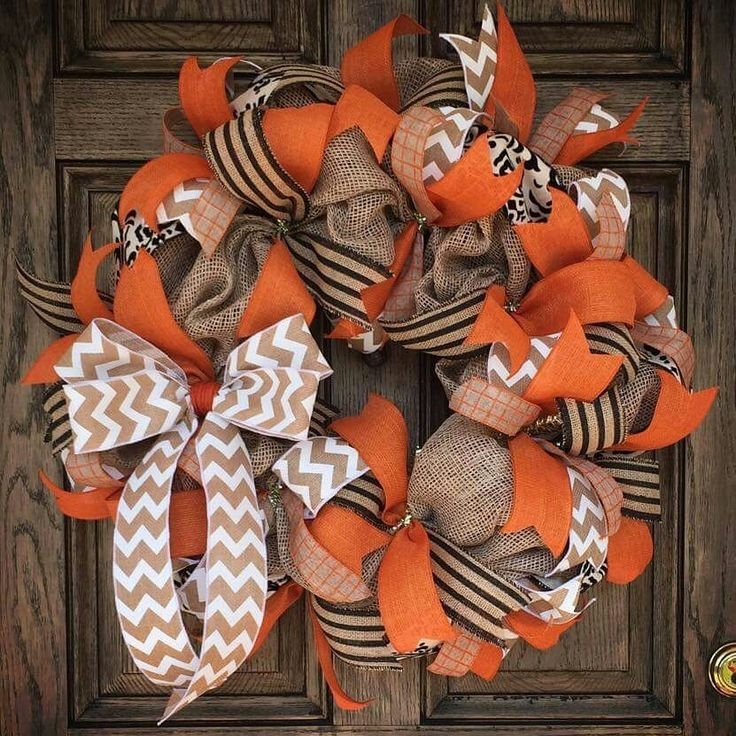Custom made Fall wreath for my new front door!! Chevron, Burlap