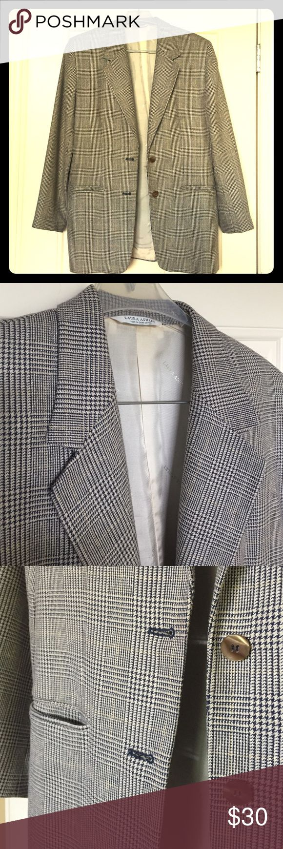 "🔲EUC Laura Ashley Silk Blend Houndstooth Blazer🔲 Excellent condition-only worn once! Beautiful long navy blue, white & tan/cream houndstooth plaid pattern blazer, Women's 8. Long sleeves. Front pockets. 2 front buttons. Built-in, soft, thin shoulder pads. 9"" Back slit. Made in Great Britain. 💼Material: 55% Silk, 45% Wool. Lining: 100% Viscose/Rayon. 💼Measurements: Length from shoulder: 28.5"", Sleeve Length: 23.5"", Bust (buttoned): 20"" flat/40"" full.💃Offers Welcome & Bundling Discounts…"