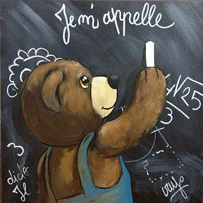Peinture Ourson Tableau d'école, PEINTURE Ourson