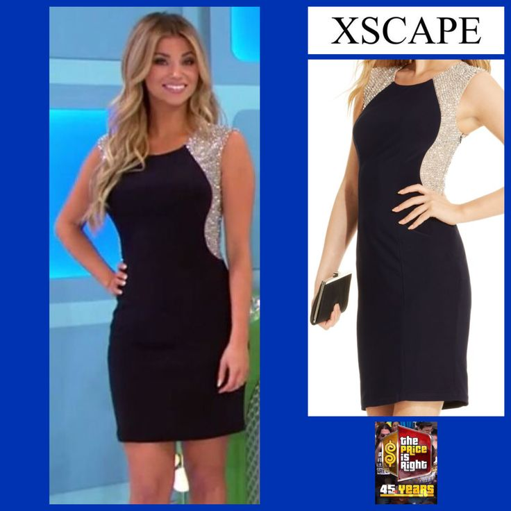 XSCAPE Sleeveless Embellished Contrast Sheath Dress in Navy worn by Amber Lancaster
