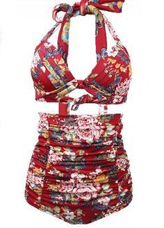 Vintage 50s Style Pin Up Halter High Waisted Swimsuit