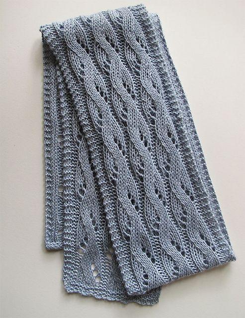 Free Knitting Pattern: Falling Water scarf pattern by Bonnie Sennott. Wavy lace pattern framed by a crisp garter stitch edge on all sides.