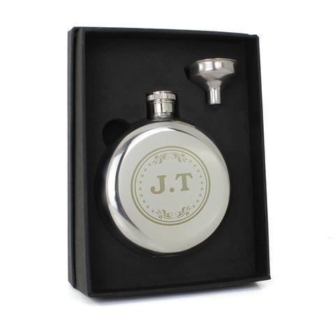Personalised Monogram Round Hip Flask