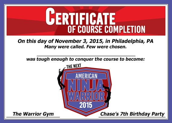 American Ninja Warrior Party Certificate American by rbcreation