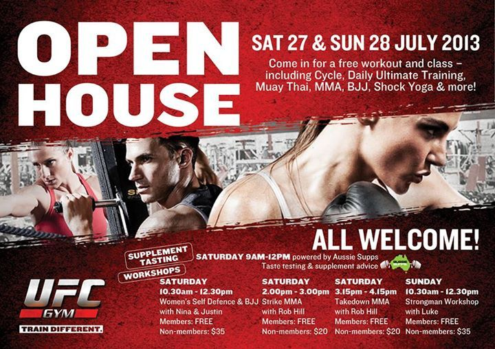It's Open House this weekend at UFC Gym! Not only can you bring your friends and family for a free workout, but we're also opening all classes up to everyone, running specialist workshops (including an all female workshop) and we have the team from Aussie Supplements Sydney answering all your supplement questions & offering special deals for UFC Gym members! Details at http://ufcgymsydney.com/home/events/upcoming_events.aspx