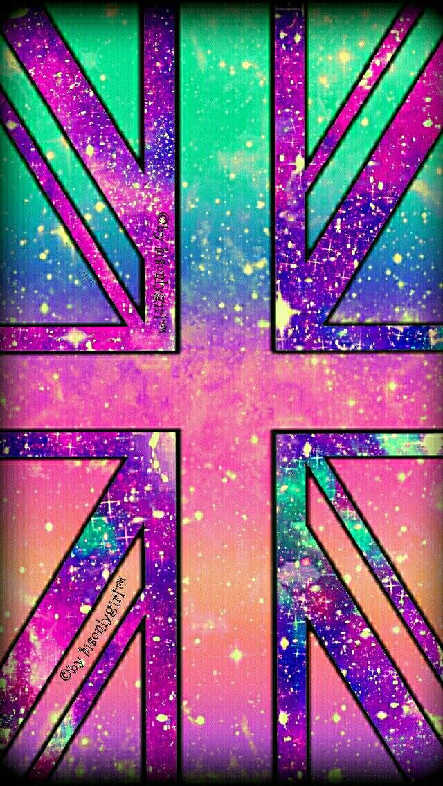 Colorful British flag galaxy wallpaper I created for the app CocoPPa!