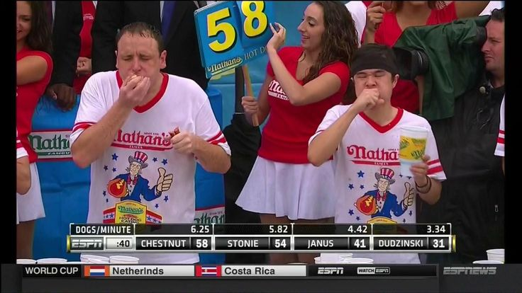 2014 Nathan's Hot Dog Eating Contest - Joey Chestnut Wins 8th Consecutiv...