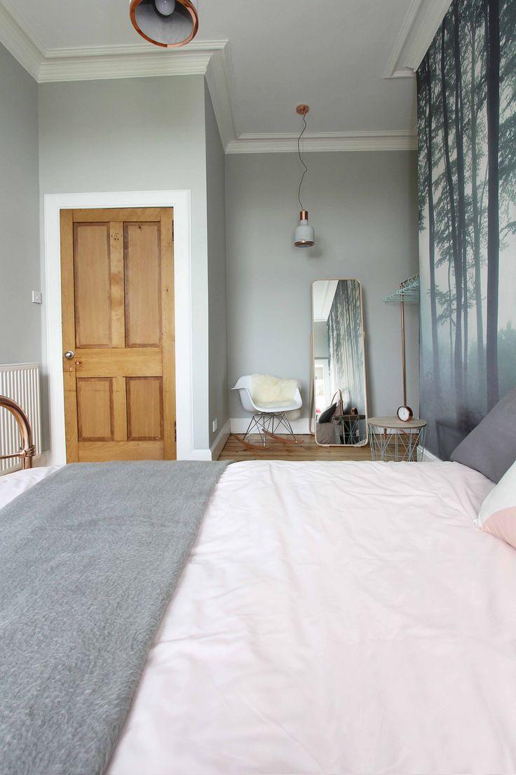 Modern, Scandinavian, pink, grey and copper bedroom. Dressing area. Copper  bed