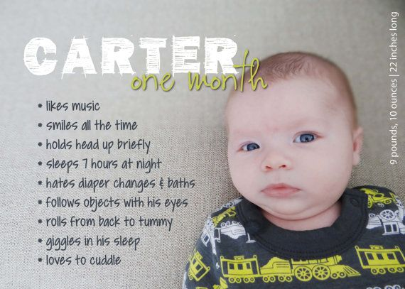 d92d607f8 Monthly Milestones  1-Month-Old Custom Baby Stats Print AND Digital ...